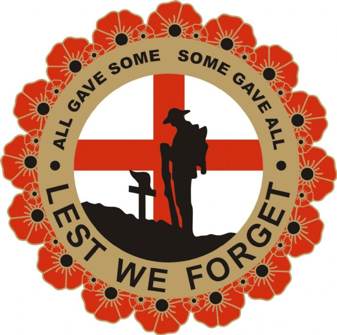 Poppy Car Sticker with Soldier, Wreath and England Flag